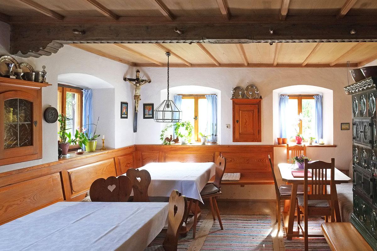 Frühstücksraum im Bauernhof Beim Laberger